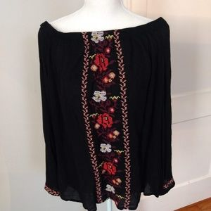 OLD NAVY Off Shoulder BOHO Black Top
